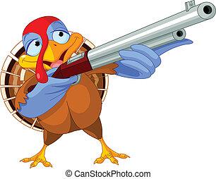Shooting  turkey - Illustration of shooting turkey