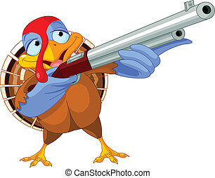 Shooting  turkey - Illustration of shooting turkey