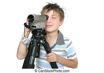 Shooting video with tripod - Child creating a short movie...