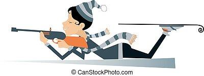 Shooting in the lying position woman biathlon competitor cartoon illustration