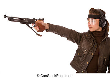shooting - young woman with sports gun on a white background