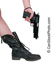 Shooting Yourself in the Foot - Beautiful woman shooting...
