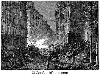 Shootouts in the Rue Saint-Denis, vintage engraving.