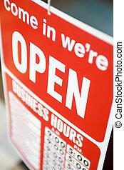 shop, åben underskriv