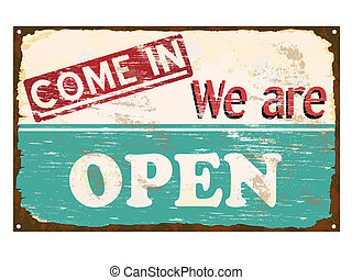 shop, åbn, emalje, tegn