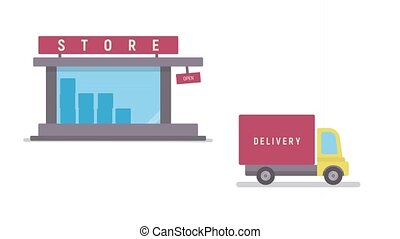 Shop and delivery service. Concept of sales business. Flat...