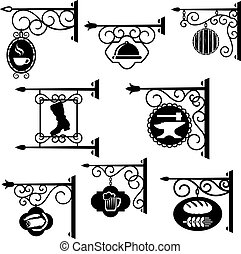 Shop and workshop metal forged signs vector icons - Vintage...
