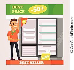 Shop assistant man character selling appliances. Vector flat cartoon illustration