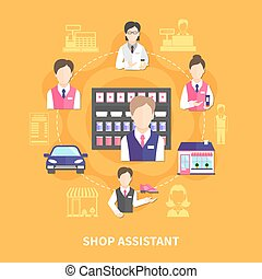 Shop Assistant Round Composition