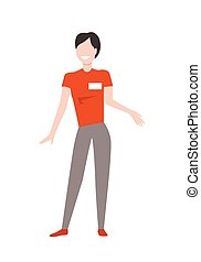 Shop Assistant Woman Character Vector Illustration
