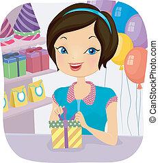 Shop Attendant Girl - Illustration of a Female Shop...