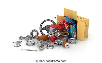 shop., auto, boxes., parti, automobilistico, cesto, store.,...