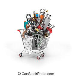 shop., auto, onderdelen, trolley., automobiel, mand, store.