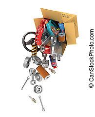 shop., auto, vliegen, boxes., autoparts., onderdelen, ...