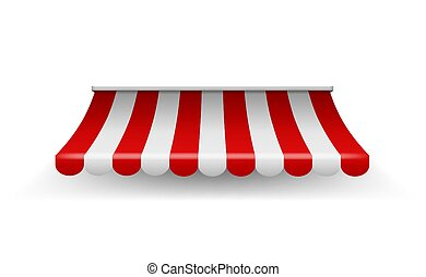 Shop awning. Shopping striped tent for market grocery or restaurant, vector realistic red store roof