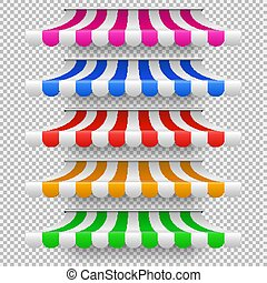 Shop awning tents for window. Outdoor market canopy, vintage...