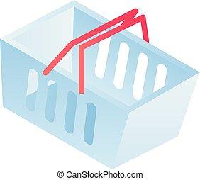 Shop basket icon, isometric style