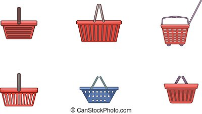 Shop basket icon set, cartoon style