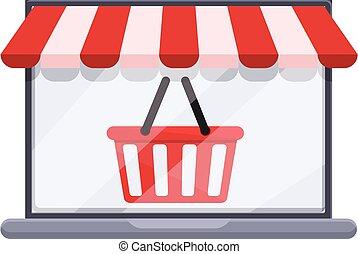 Shop basket online shopping icon, cartoon style