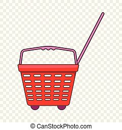 Shop basket with wheels icon, cartoon style