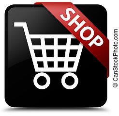 Shop black square button red ribbon in corner
