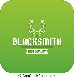 Shop blacksmith icon green vector
