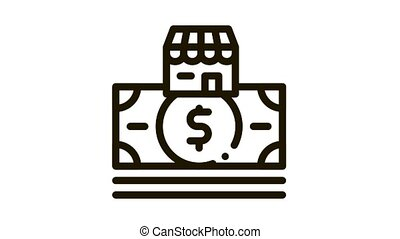 shop building and dollar banknote Icon Animation. black shop building and dollar banknote animated icon on white background