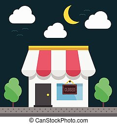 Shop building at night time. Vector illustration.