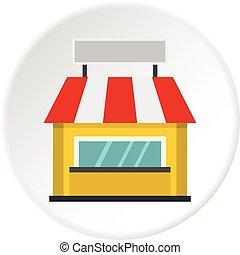 Shop building facade with signboard icon circle