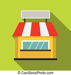 Shop building facade with signboard icon