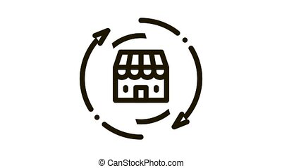 shop building round arrows Icon Animation. black shop building round arrows animated icon on white background