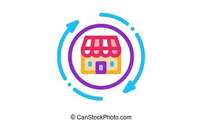 shop building round arrows Icon Animation. color shop building round arrows animated icon on white background