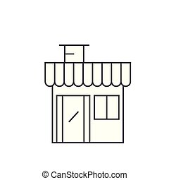 Shop building thin line icon concept. Shop building linear vector sign, symbol, illustration.