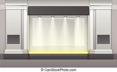 Shop Building with Showcase, Backlight Isolated