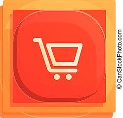 Shop cart button interface icon, cartoon style