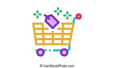 shop cart label Icon Animation. color shop cart label animated icon on white background