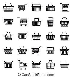 Shop cart supermarket icons set, simple style