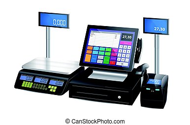 Shop cash register, printer and scales - retail equipment