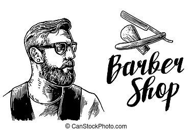 shop., etichetta, bianco, fare la barba, barbiere, vettore, nero, mano, web., bandiera, taglio capelli, vendemmia, tipografia, hipster, disegnato, incisione, manifesto, illustrazioni, elements.