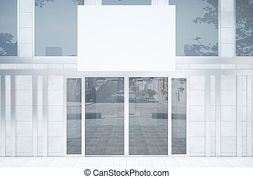 Shop exterior with banner