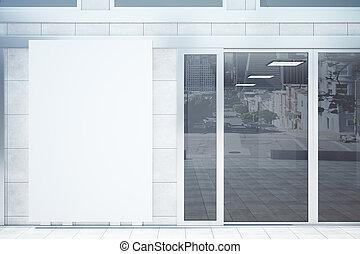 Shop exterior with billboard