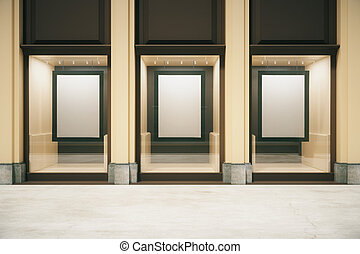 Shop exterior with blank frames