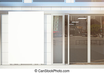 Shop exterior with whiteboard