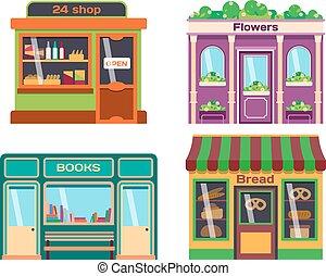 Shop facade vector illustration - Set of vector flat design ...
