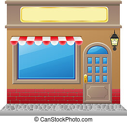 shop facade with a showcase illustration