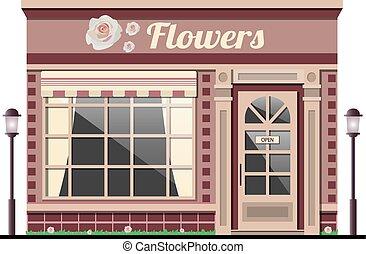 shop., fachada, store., flor