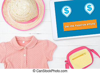 Shop Fashion online store on tablet screen