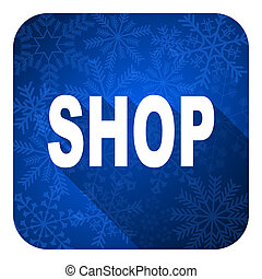 shop flat icon, christmas button