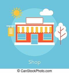 Shop flat line design concept.