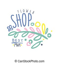 Shop flower best 1969 logo template colorful hand drawn...